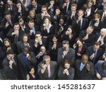 elevated view of large group of ... | Shutterstock . vector #145281637