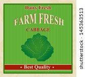 vintage farm fresh cabbage... | Shutterstock .eps vector #145363513