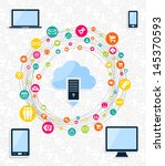 cloud computing networks... | Shutterstock .eps vector #145370593