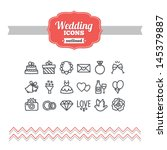 set of hand drawn wedding icons | Shutterstock .eps vector #145379887