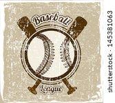 Baseball League Over Vintage...