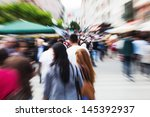 people in the city with zoom... | Shutterstock . vector #145392937