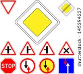 vector set of road signs... | Shutterstock .eps vector #145394227