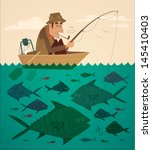 Fishing On The Boat. Vector...