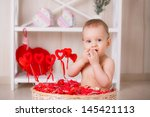 valentine's day. boy in a... | Shutterstock . vector #145421113