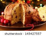christmas cake panettone and... | Shutterstock . vector #145427557
