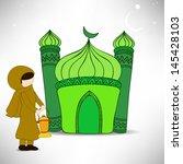 muslim woman holding arabic... | Shutterstock .eps vector #145428103