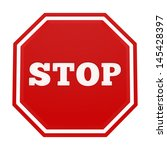 render of a stop sign  isolated ... | Shutterstock . vector #145428397