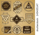 vector set of retro labels.... | Shutterstock .eps vector #145435147