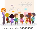 illustration of stickman kids... | Shutterstock .eps vector #145483303