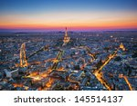 Paris  France At Sunset. Aeria...