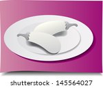 white brinjals and plates on... | Shutterstock .eps vector #145564027