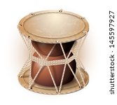 Musical background series. Traditional damaru drum, isolated on white background. Vector illustration
