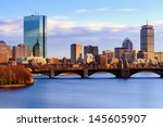 Stock photo back bay boston skyline on a summer afternoon 145605907