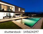 modern villa  night scene view...   Shutterstock . vector #145624297