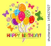 happy birthday card.... | Shutterstock . vector #145627027