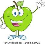 smiling green apple cartoon...