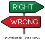 right vs. wrong road sign | Shutterstock .eps vector #145673927