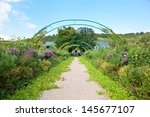 claude monet garden and house...   Shutterstock . vector #145677107