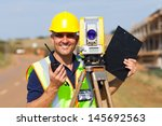Happy Senior Land Surveyor Wit...