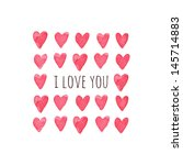 stylish love card with red... | Shutterstock . vector #145714883