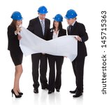 group of architects discussing... | Shutterstock . vector #145715363