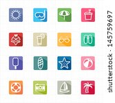 flat icons summer beach and... | Shutterstock .eps vector #145759697