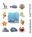 Vector Icons Of The Ocean Life