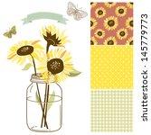 Glass Jar  Sunflowers  Ribbon ...