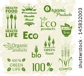 set of organic food icons.... | Shutterstock .eps vector #145832003