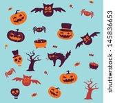 seamless halloween background | Shutterstock .eps vector #145836653