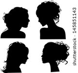 Vector silhouettes of girls hairstyles