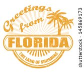 Grunge rubber stamp with text Greetings from Florida, vector illustration - stock vector