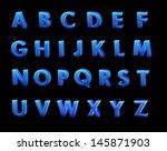 blue 3d alphabet  | Shutterstock . vector #145871903