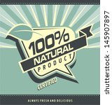 retro label for organic food.... | Shutterstock .eps vector #145907897