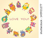 owls cute greeting card and... | Shutterstock .eps vector #145921277