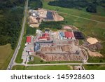 aerial view over the wood... | Shutterstock . vector #145928603