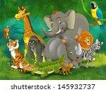 cartoon tropic or safari  ... | Shutterstock . vector #145932737