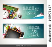 set of two horizontal banners... | Shutterstock .eps vector #145975637