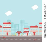retro city background | Shutterstock .eps vector #145987337