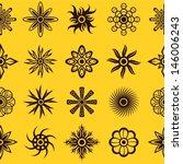 floral tattoo symbols. seamless ... | Shutterstock .eps vector #146006243