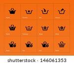 shopping basket icons on orange ...
