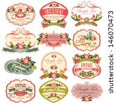 vintage labels with flower | Shutterstock .eps vector #146070473