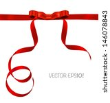 shiny red ribbon on white... | Shutterstock .eps vector #146078843