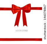 shiny red ribbon on white... | Shutterstock .eps vector #146078867