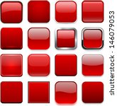 set of blank red square buttons ... | Shutterstock .eps vector #146079053