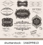 retro calligraphic design... | Shutterstock .eps vector #146099813