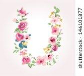 vector flower font capital u | Shutterstock .eps vector #146101877