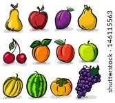 temperate fruits sketch drawing ... | Shutterstock .eps vector #146115563