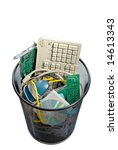 A Waste Basket Of Used Compute...